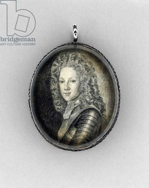 Prince James Francis Edward Stuart  (The Old Pretender), c.1703 (india ink on vellum, graphite, rock crystal & silver)
