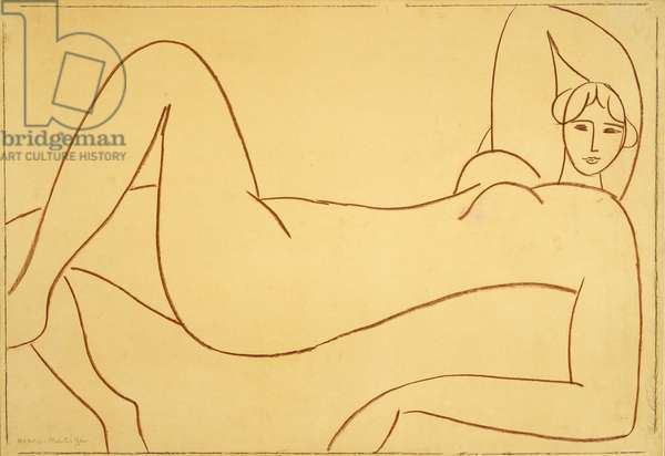 Study after the Pink Nude, 1935 (red chalk on tracing paper mounted to paper board)