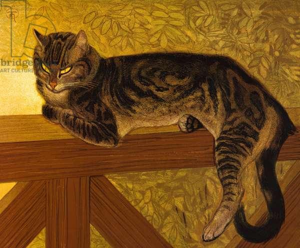 Ete, Chat sur une Balustrade, 1909 (colour litho)