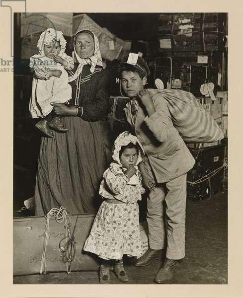 Italian Family Looking for Lost Baggage, Ellis Island, 1905, printed 1939 (gelatin silver print)