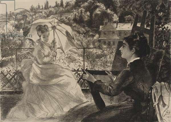 La Terrasse, 1876 (etching)
