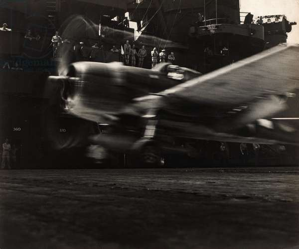 A Grumman F6F Hellcat takes off from the desk of the USS Lexington, November, 1943, printed c.1943-1945 (gelatin silver print)