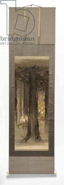 Kitsune No Yomeiri [The fox's wedding], late 19th-early 20th century (ink on silk mounted paper with ivory roller)