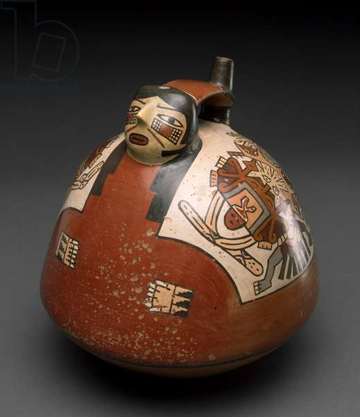 Vessel in the form of a Caped Woman, Peru, 300-600 (earthenware with polychrome slip painting)