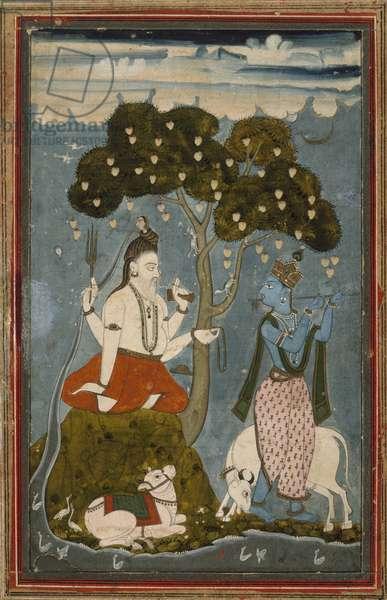 Shiva and Krishna, mid 1700s (termpera on laid paper)