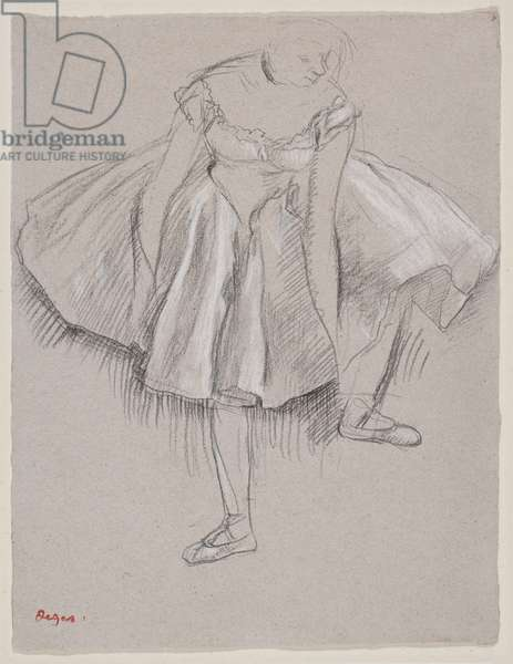 Danseuse rajustant son chausson, early 1880s (charcoal and pastel on paper)