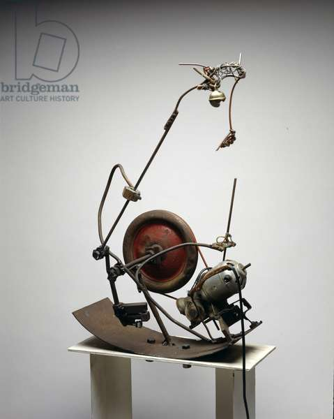 Bascule, 1960 (steel rods and wire, aluminium pulley, brass bell, round rubber belt & electric motor)
