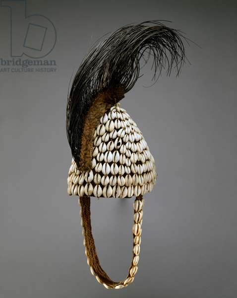 Hat with Elephant Tail (Bwami Society), Kinshasa, Zaire, 1925-50 (plant fibre, cowrie shells and elephant tail)