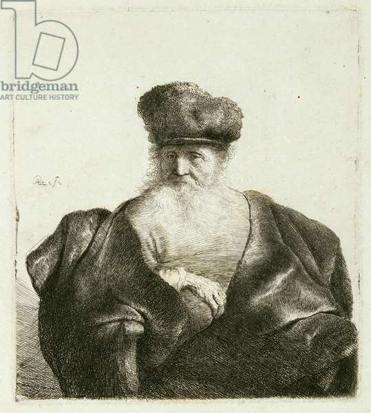 An Old Man with a Beard, Fur Cap and a Velvet Cloak, c.1632 (etching)