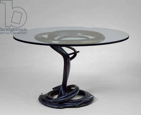 Table, 1983 (Mild steel, brass, and glass)
