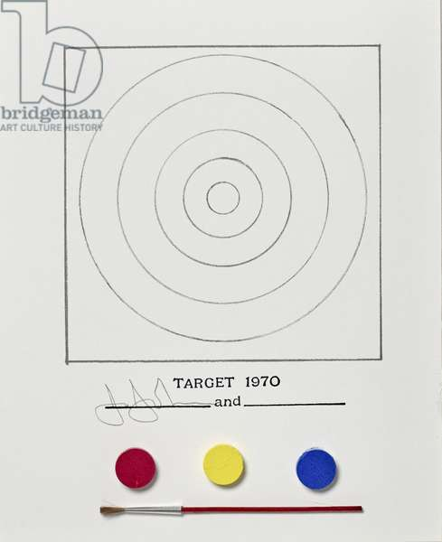 Target, 1970, published 1971, completed January 10, 1972 (offset litho, w/c kit & brush in plastic case with sponge insert on cardboard)