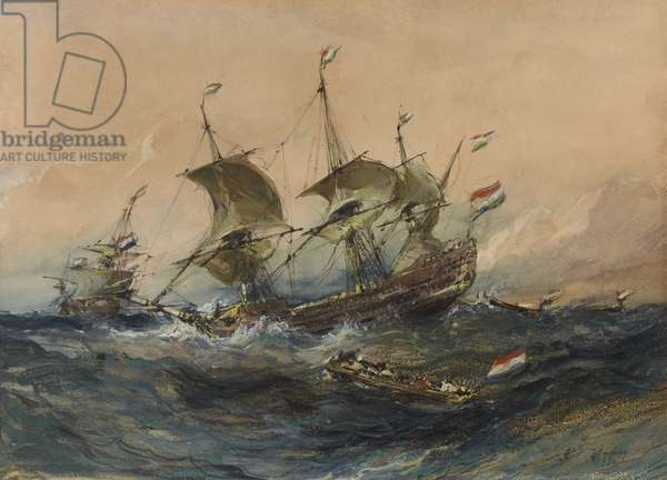 Dutch Ships in a Storm, 1839 (w/c & gouache on wove paper)