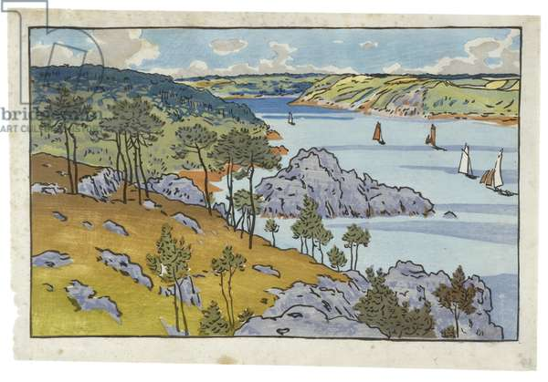 Mouth of the Trieux at Loguivy, 1891 (woodcut from 12 blocks)