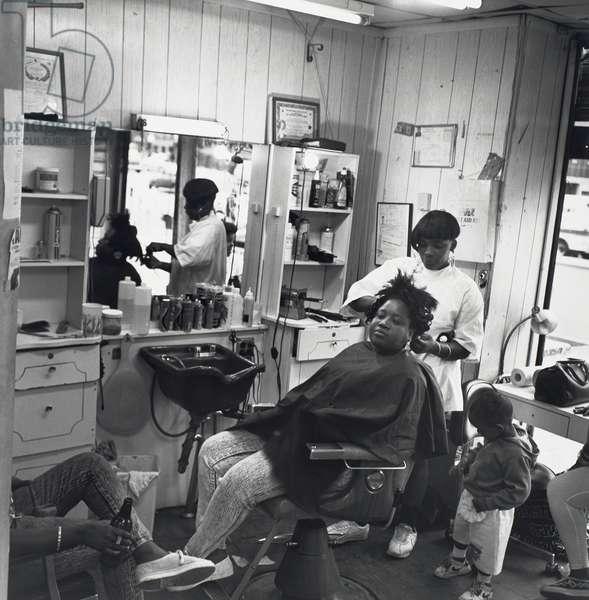 Saturday Morning in the Beauty Salon, 1990 (gelatin silver print)