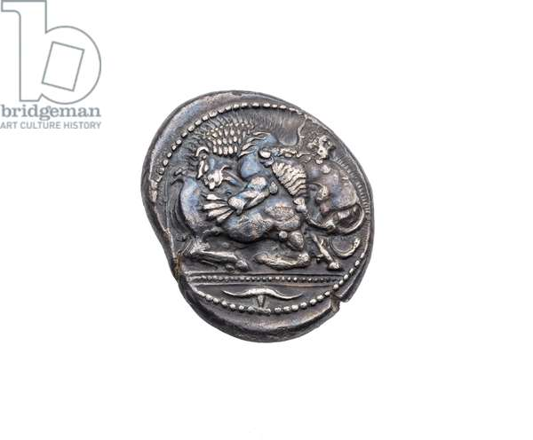 Tetradrachm with lion seizing bull on obverse and incuse mark on reverse, 475-424 BC (silver)