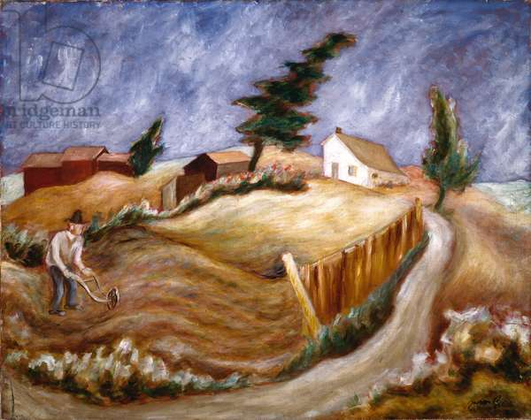 Man with Hand Plow, c.1933 (oil on canvas)