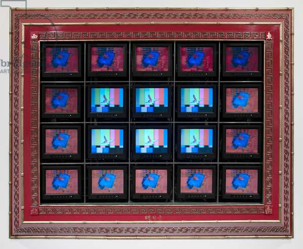 Rose Art Memory, 1988 (wood, lacquer, aluminium framework, 20 television monitors, 2 channels of video from 2 DVD players)