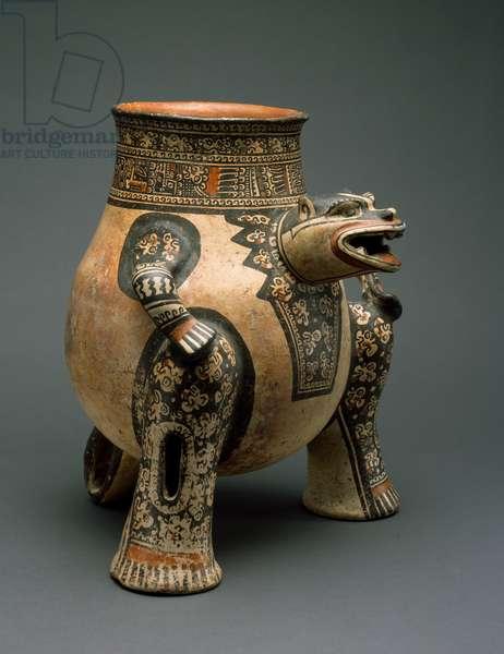 Jaguar Vessel, Northwestern Costa Rica, Late Period VI, 1200-1400 (earthenware with polychrome slip painting)