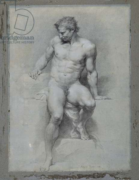 Academic Nude, 1765 (charcoal heightened with black & white chalk on blue-grey paper)