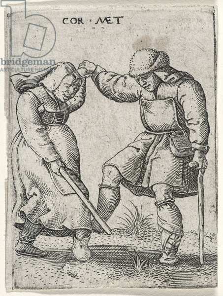 A Man with a Bandaged Foot Dancing with a Woman, 1572 (engraving on laid paper)