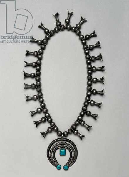 Navajo squash blossom necklace, 1910-25 (silver)