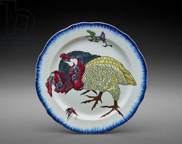 Plate with Turkeys, from the Rousseau Service, 1866-75 (faïence)