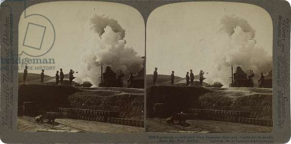 Enormous 11-inch shell from Japanese siege gun beginning its deadly flight into Port Arthur, 1904-05 (gelatin silver stereograph)