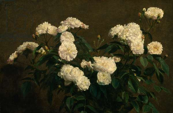 Still Life of White Roses, 1870 (oil on canvas)
