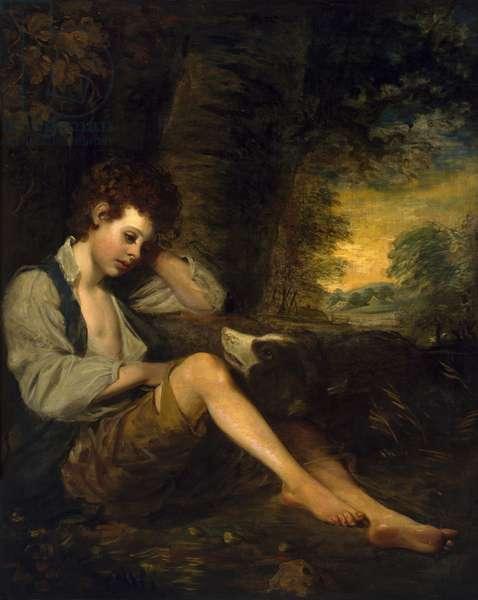 A shepherd boy (oil on canvas)