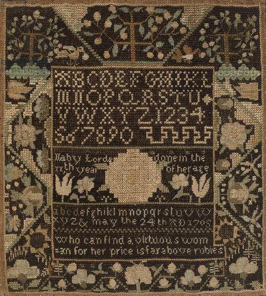 Sampler, 1765 (silk and metal on linen mounted on wood)