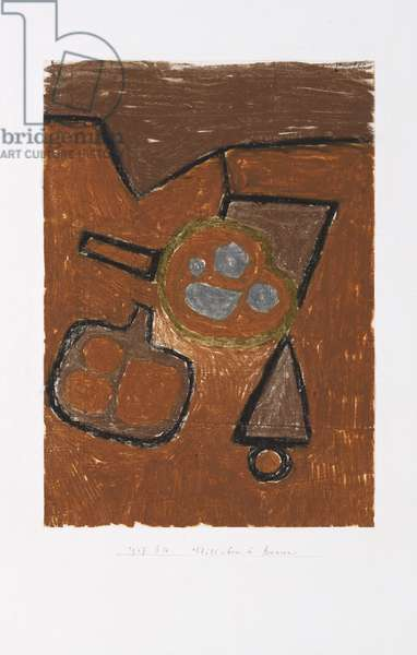 Still Life in Brown, 1937 (oil pastel on paper with frottage technique, mounted on paper)