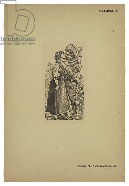 A Maderista and his beloved kiss farewell, 1911, printed 1943 (photo-relief etching with engraving)