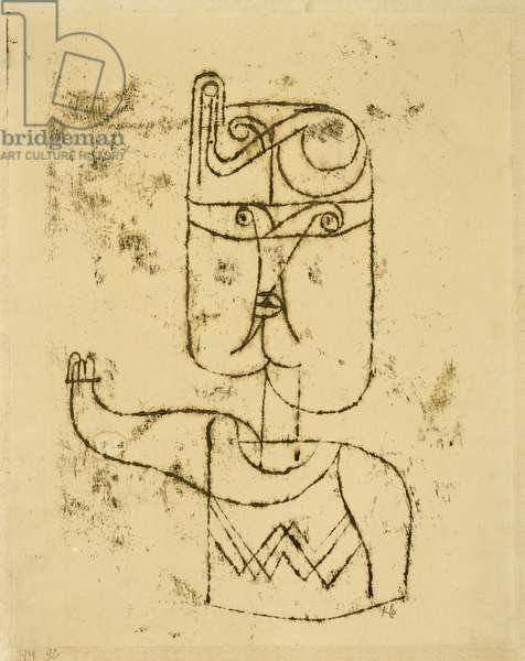 Mathematisches Bildnis. 1919 (oil transfer drawing on paper, mounted on cardboard)