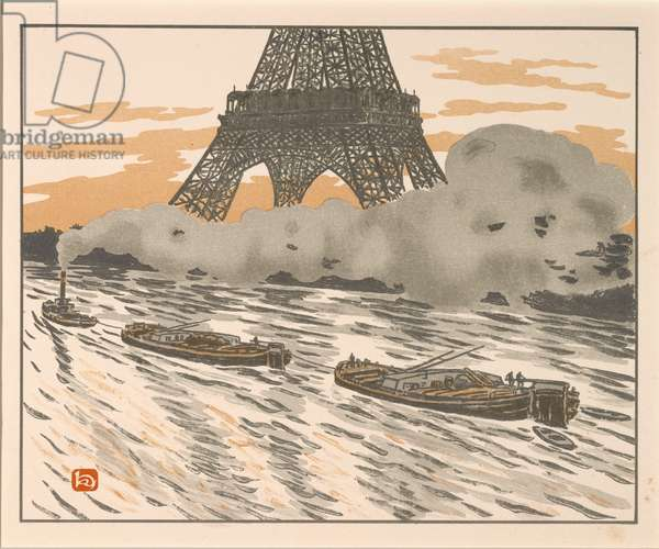 The Barges from the Thirty-six Views of the Eiffel Tower, 1902 (lithograph)