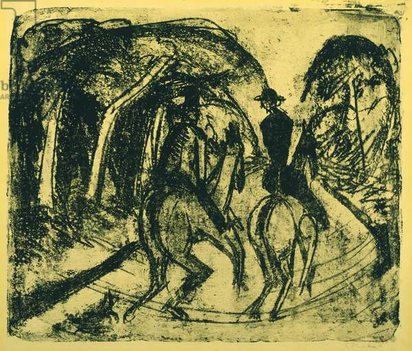 Reiter im Grunewald, 1914 (litho on yellow paper)