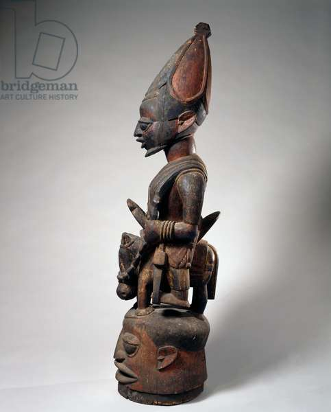Helmet mask with equestrian figure, Efon-Alaye town, Nigeria, 1900-50 (wood and paint)