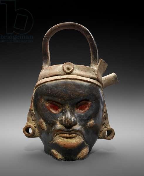 Effigy Deity Head Vessel, 1200-1519 AD (earthenware with slip)
