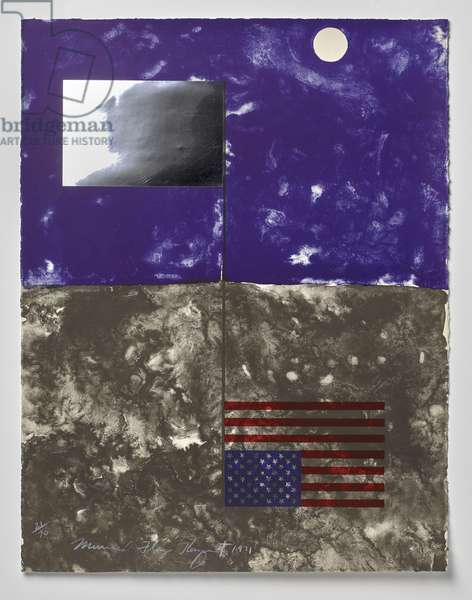 Mirrored Flag, 1971 (colour litho with collage of mirrored-mylar on wove paper)