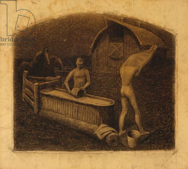 Saturday Night Bath, 1937 (charcoal on paper)