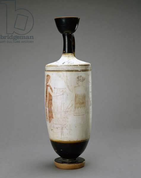 White Ground Lekythos with Young Woman at a Tomb, 450-440 BC (terracotta with white ground)