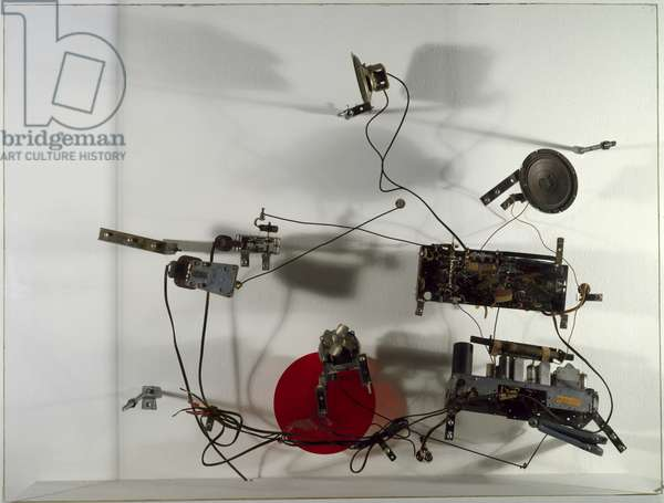 Radio Drawing, 1963 (clear sheet plastic support, two radios, two electric motors, electric wires, and red plastic fly-wheel)