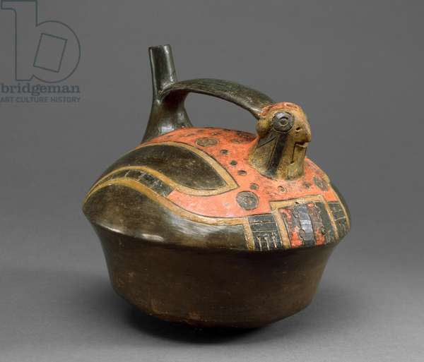 Falcon Vessel, Late Paracas, 300-200 BC (earthenware with resin paint)