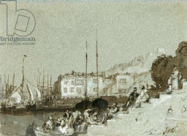 View of a Seaport East Cowes, Isle of Wight, 1828 (ink, wash & white chalk on blue paper)