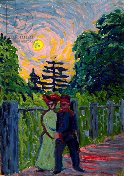 Moonrise: Soldier and Maiden, 1905 (oil on board)