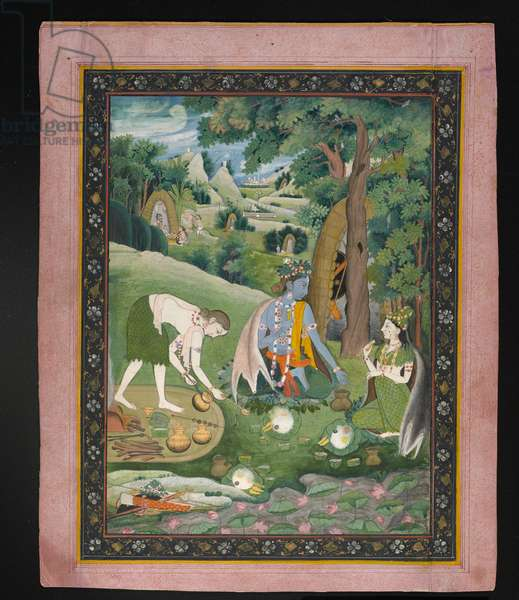 Rama, Lakshmana, and Sita Cooking and Eating in the Wilderness, c.1820 (gouache with gold on paper)