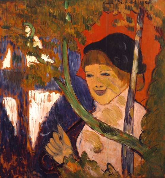 Breton Girl with a Red Umbrella, 1888 (oil on wood)