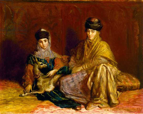 Woman and Little Girl of Constantine with a Gazelle, 1849 (oil on panel)