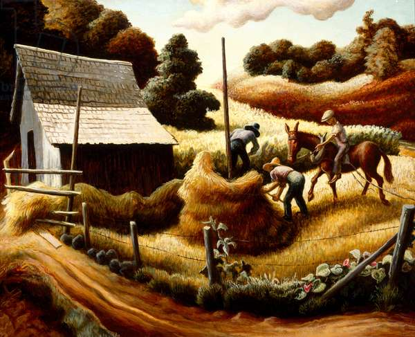Haystack, 1938 (tempera with oil glaze on linen on panel)