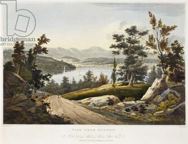 View near Hudson, 1822 (aquatint on paper with hand-colouring)