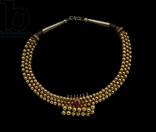 Necklace, 19th century (gold, gold alloy, gemstones & cloth cord)